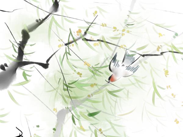 ps古风免抠水墨素材黑白莲