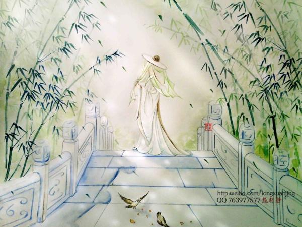 水彩手绘古风人物意境