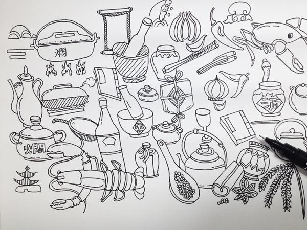 虾卡通图片手绘